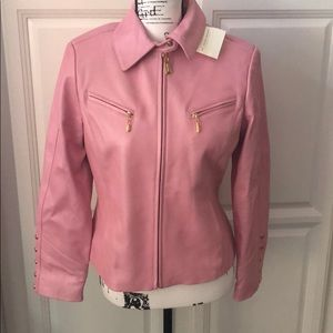 ST. JOHN Leather Pink Jacket With Gold Hardware